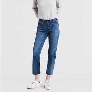 Levi's Wedgie Fit Jeans, raw hem, dark wash, 30